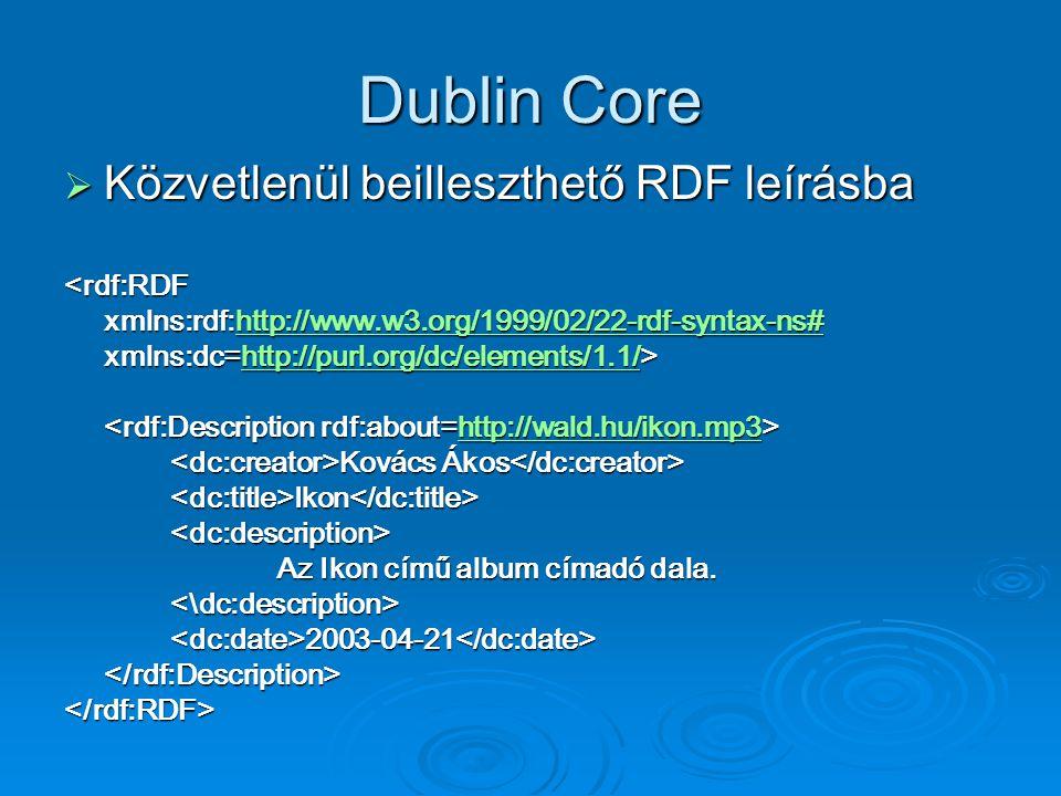 Dublin Core  Közvetlenül beilleszthető RDF leírásba <rdf:RDF xmlns:rdf:http://www.w3.org/1999/02/22-rdf-syntax-ns# http://www.w3.org/1999/02/22-rdf-syntax-ns# xmlns:dc=http://purl.org/dc/elements/1.1/> http://purl.org/dc/elements/1.1/ http://wald.hu/ikon.mp3 Kovács Ákos Kovács Ákos <dc:title>Ikon</dc:title><dc:description> Az Ikon című album címadó dala.