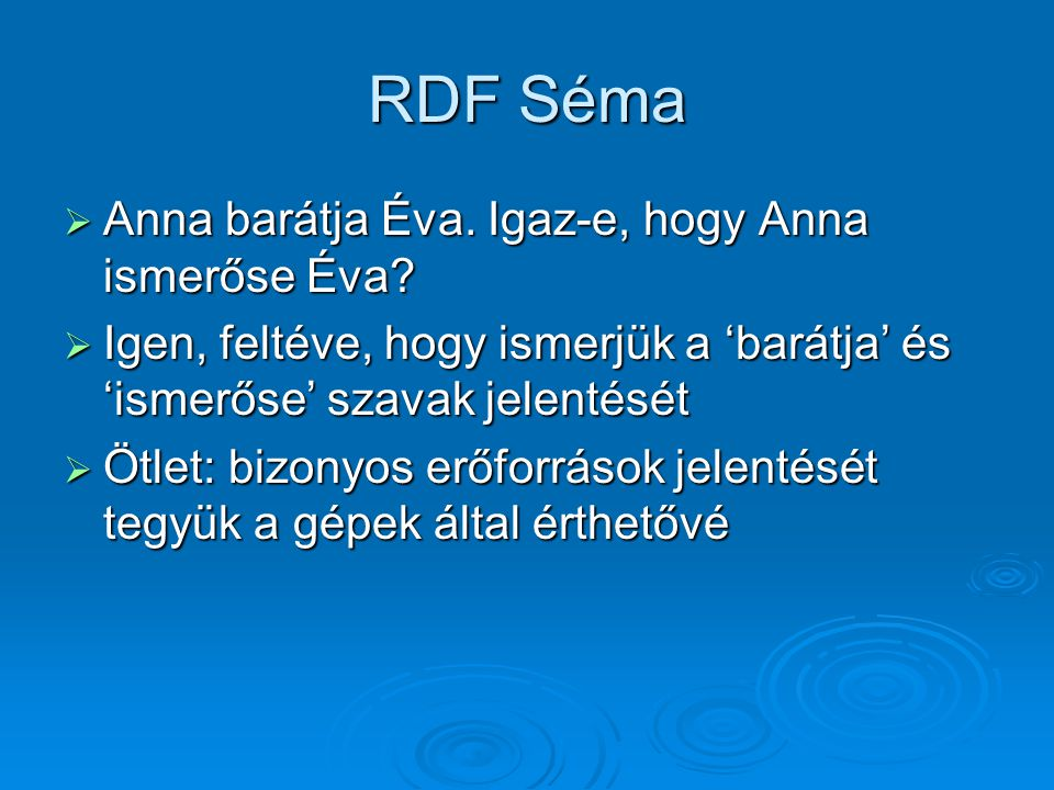 RDF Séma  Anna barátja Éva.Igaz-e, hogy Anna ismerőse Éva.
