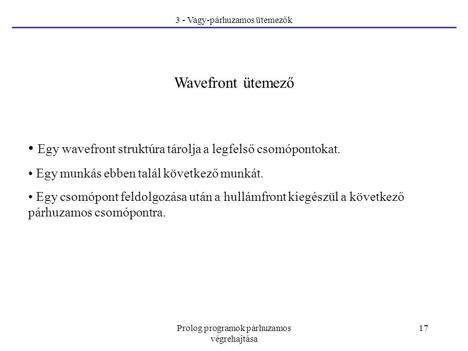Prolog programok párhuzamos végrehajtása 17 3 - Vagy-párhuzamos ütemezők Wavefront ütemező Egy wavefront struktúra tárolja a legfelső csomópontokat.