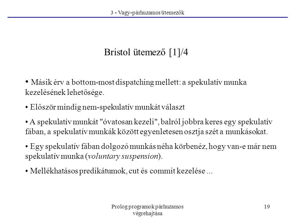 Prolog programok párhuzamos végrehajtása 19 3 - Vagy-párhuzamos ütemezők Bristol ütemező [1]/4 Másik érv a bottom-most dispatching mellett: a spekulatív munka kezelésének lehetősége.
