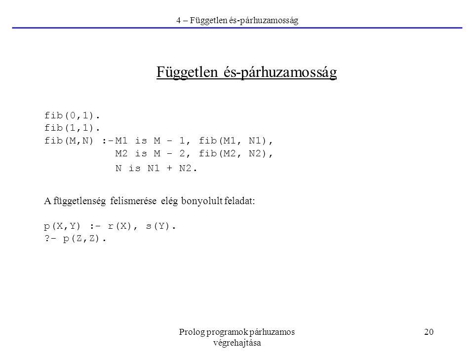 Prolog programok párhuzamos végrehajtása 20 4 – Független és-párhuzamosság Független és-párhuzamosság fib(0,1). fib(1,1). fib(M,N) :-M1 is M - 1, fib(