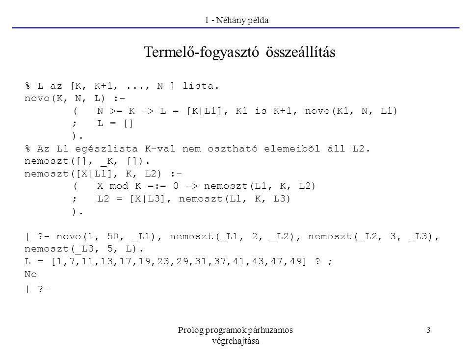 Prolog programok párhuzamos végrehajtása 3 1 - Néhány példa Termelő-fogyasztó összeállítás % L az [K, K+1,..., N ] lista. novo(K, N, L) :- ( N >= K ->