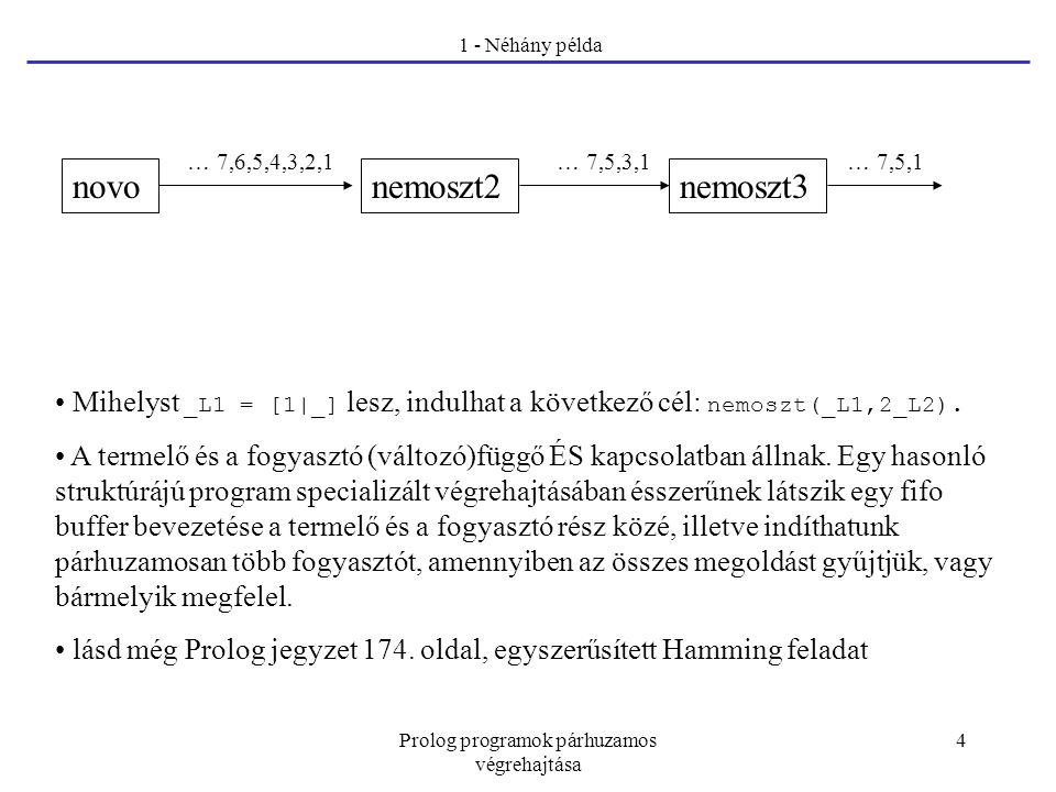 Prolog programok párhuzamos végrehajtása 4 1 - Néhány példa Mihelyst _L1 = [1|_] lesz, indulhat a következő cél: nemoszt(_L1,2_L2). A termelő és a fog