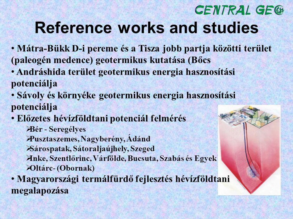 Reference works and studies Mátra-Bükk D-i pereme és a Tisza jobb partja közötti terület (paleogén medence) geotermikus kutatása (Bőcs Andráshida terü