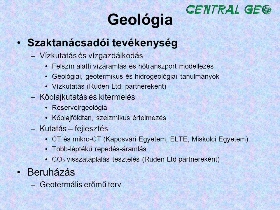Geológia Szaktanácsadói tevékenység –Vízkutatás és vízgazdálkodás Felszín alatti vízáramlás és hőtranszport modellezés Geológiai, geotermikus és hidro
