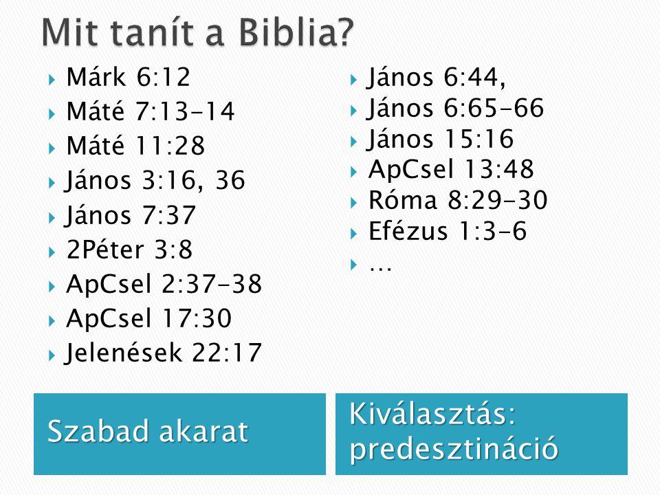 Szabad akarat Kiválasztás: predesztináció  Márk 6:12  Máté 7:13-14  Máté 11:28  János 3:16, 36  János 7:37  2Péter 3:8  ApCsel 2:37-38  ApCsel 17:30  Jelenések 22:17  János 6:44,  János 6:65-66  János 15:16  ApCsel 13:48  Róma 8:29-30  Efézus 1:3-6  …