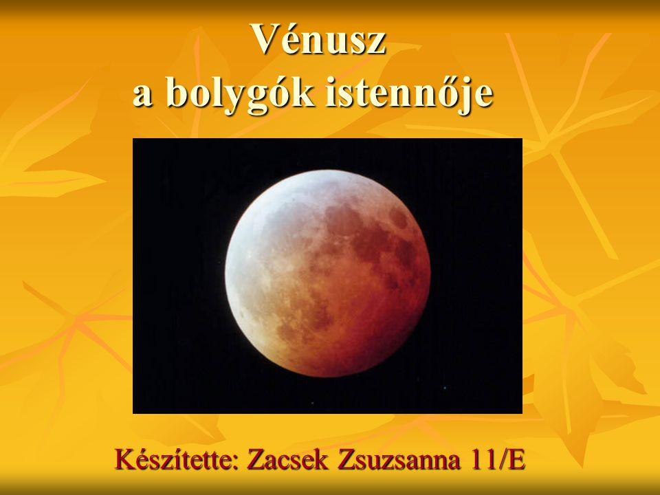 A Vénuszról A Naptól számított második nagybolygó, nevét a szépség és a szerelem római istennőjéről kapta A Naptól számított második nagybolygó, nevét a szépség és a szerelem római istennőjéről kapta A Nap és Hold után a legfényesebb objektum az éjszakai, hajnali égbolton, látszólagos fényessége 4,6 m.