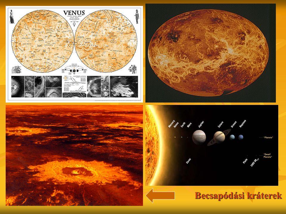 Belső szerkezet Felépítése : mag, köpeny, kéreg Felépítése : mag, köpeny, kéreg Magja részben folyékony, belső nyomása kisebb mint a Föld magjáé Magja részben folyékony, belső nyomása kisebb mint a Föld magjáé Nem létezik lemez tektonika a száraz felszín és köpeny miatt,alacsony a hő veszteség, ami megakadályozza a bolygó lehűlését Nem létezik lemez tektonika a száraz felszín és köpeny miatt,alacsony a hő veszteség, ami megakadályozza a bolygó lehűlését Mágneses tere gyengébb és kisebb mint a Földé, ami a napszél következménye Mágneses tere gyengébb és kisebb mint a Földé, ami a napszél következménye