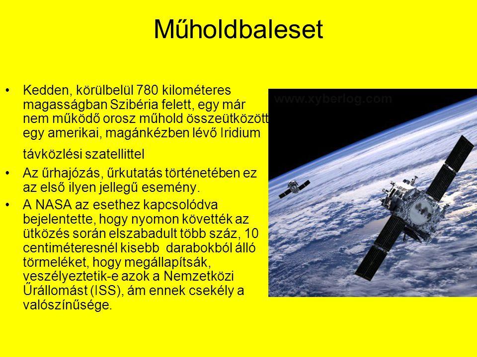 Műholdbaleset Kedden, körülbelül 780 kilométeres magasságban Szibéria felett, egy már nem működő orosz műhold összeütközött egy amerikai, magánkézben