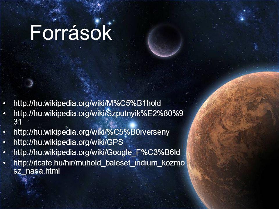 Források http://hu.wikipedia.org/wiki/M%C5%B1hold http://hu.wikipedia.org/wiki/Szputnyik%E2%80%9 31 http://hu.wikipedia.org/wiki/%C5%B0rverseny http:/