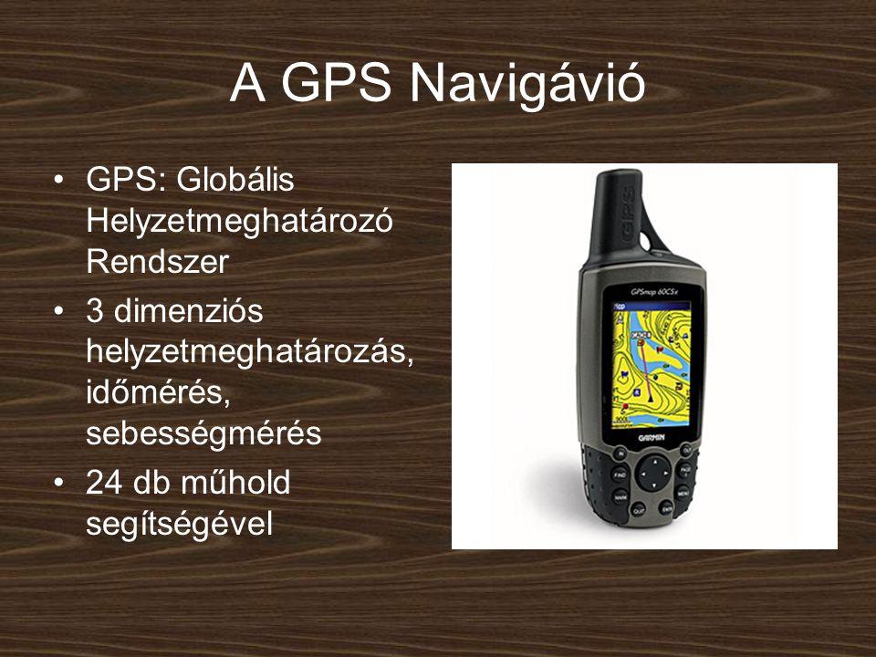 A GPS Navigávió GPS: Globális Helyzetmeghatározó Rendszer 3 dimenziós helyzetmeghatározás, időmérés, sebességmérés 24 db műhold segítségével