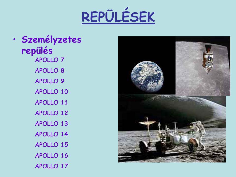 REPÜLÉSEK Személyzetes repülés APOLLO 7 APOLLO 8 APOLLO 9 APOLLO 10 APOLLO 11 APOLLO 12 APOLLO 13 APOLLO 14 APOLLO 15 APOLLO 16 APOLLO 17