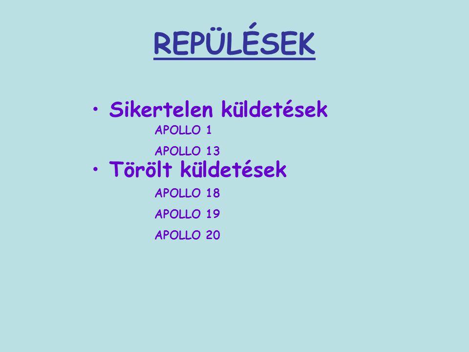 REPÜLÉSEK Sikertelen küldetések Törölt küldetések APOLLO 1 APOLLO 13 APOLLO 18 APOLLO 19 APOLLO 20