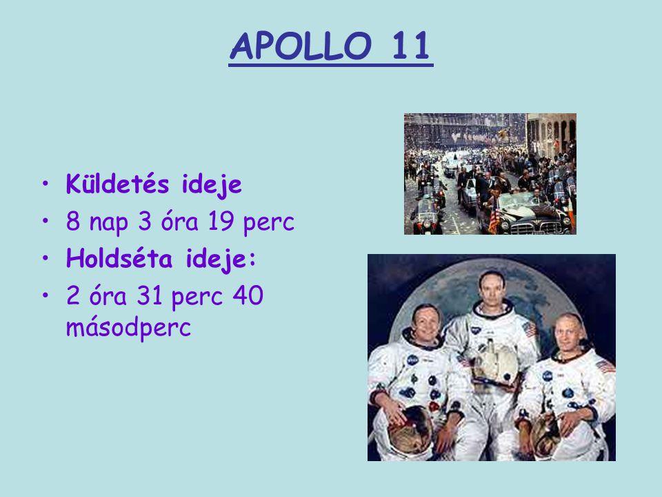 APOLLO 11 Küldetés ideje 8 nap 3 óra 19 perc Holdséta ideje: 2 óra 31 perc 40 másodperc