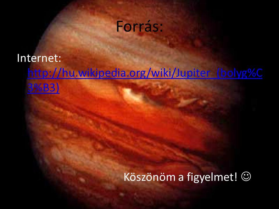 Forrás: Internet: http://hu.wikipedia.org/wiki/Jupiter_(bolyg%C 3%B3) http://hu.wikipedia.org/wiki/Jupiter_(bolyg%C 3%B3) Köszönöm a figyelmet!