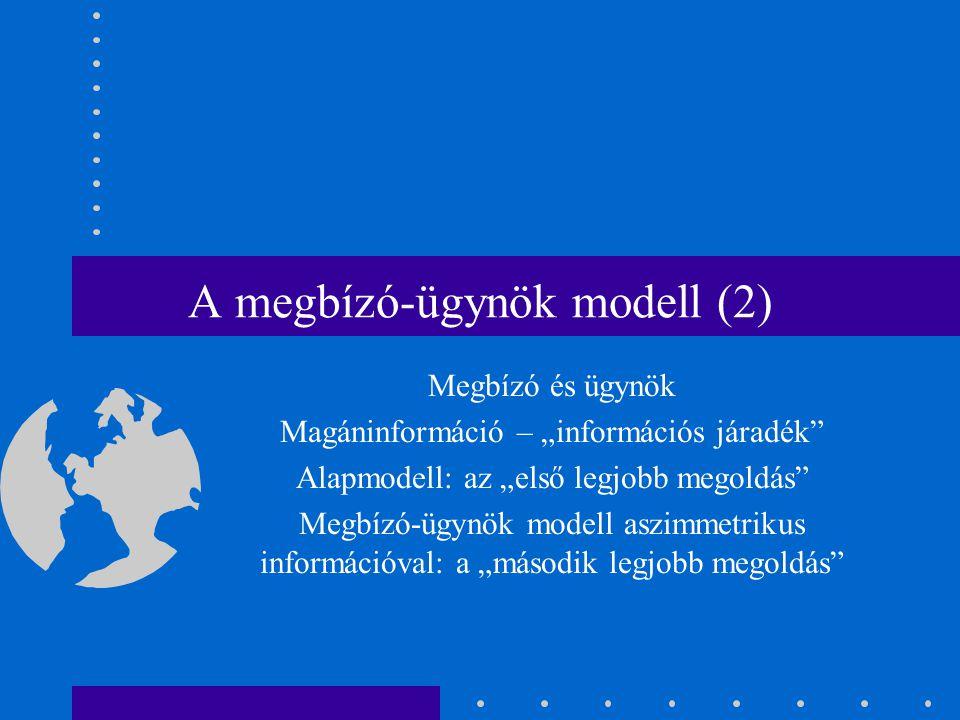 """A megbízó-ügynök modell (2) Megbízó és ügynök Magáninformáció – """"információs járadék"""" Alapmodell: az """"első legjobb megoldás"""" Megbízó-ügynök modell asz"""
