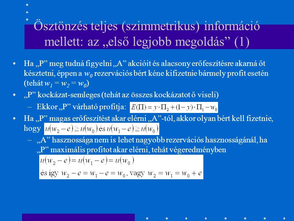"""Ösztönzés teljes (szimmetrikus) információ mellett: az """"első legjobb megoldás"""" (1) Ha """"P"""" meg tudná figyelni """"A"""" akcióit és alacsony erőfeszítésre aka"""