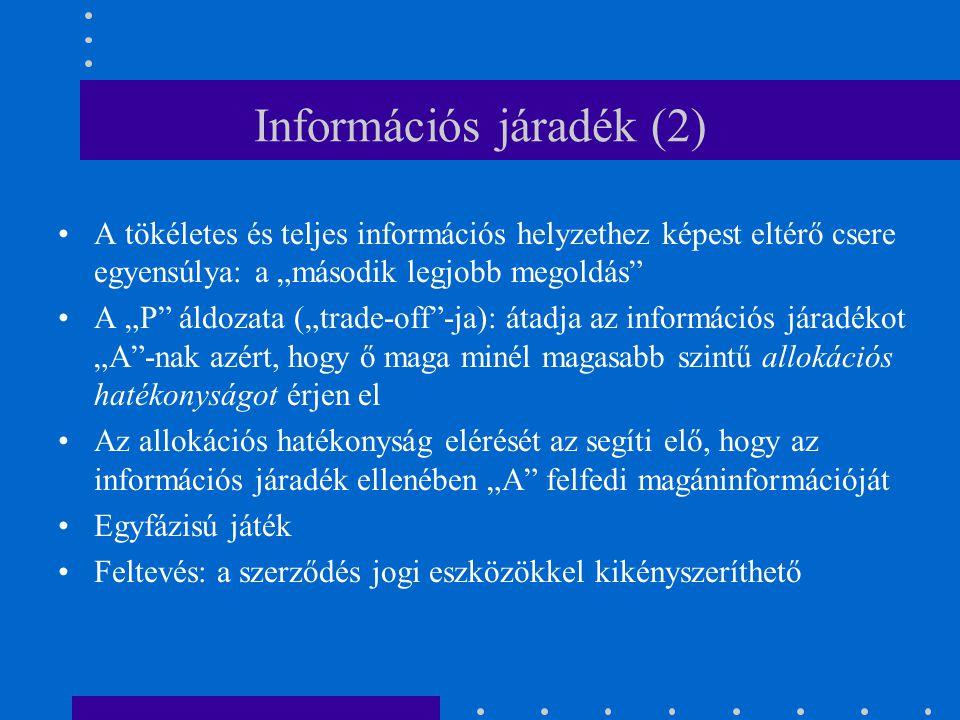 """Információs járadék (2) A tökéletes és teljes információs helyzethez képest eltérő csere egyensúlya: a """"második legjobb megoldás"""" A """"P"""" áldozata (""""tra"""