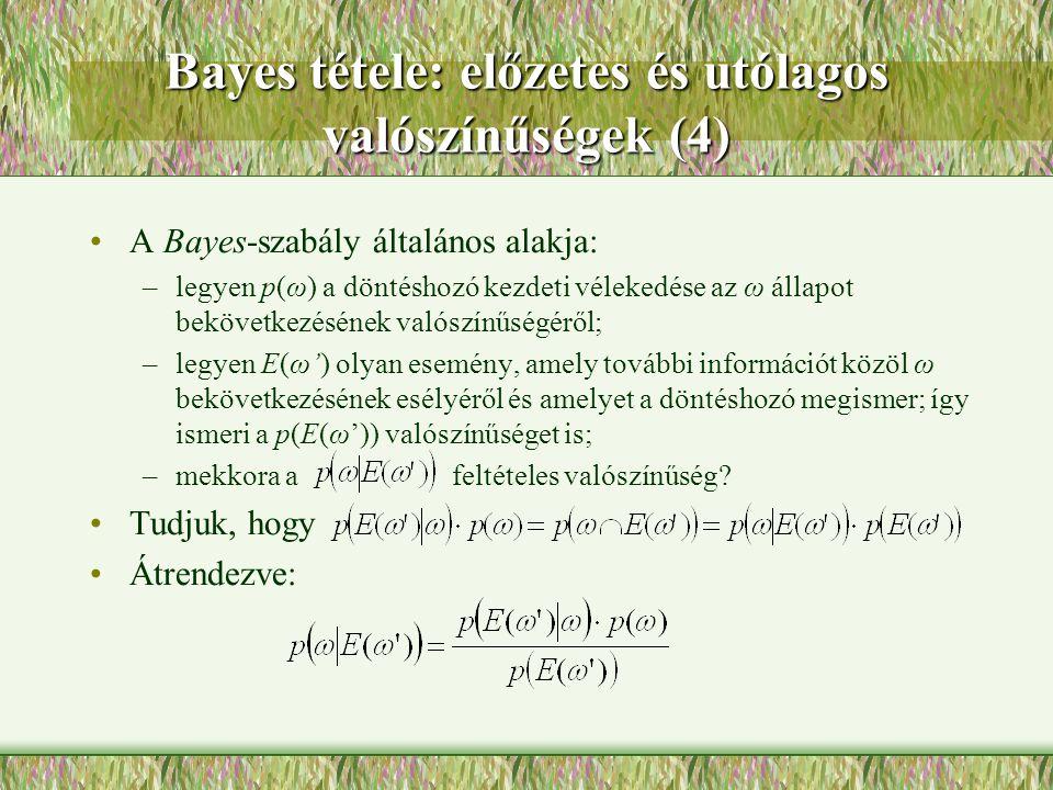 Bayes tétele: előzetes és utólagos valószínűségek (4) A Bayes-szabály általános alakja: –legyen p(ω) a döntéshozó kezdeti vélekedése az ω állapot bekö