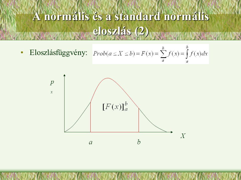 A normális és a standard normális eloszlás (2) Eloszlásfüggvény: a X pxpx b