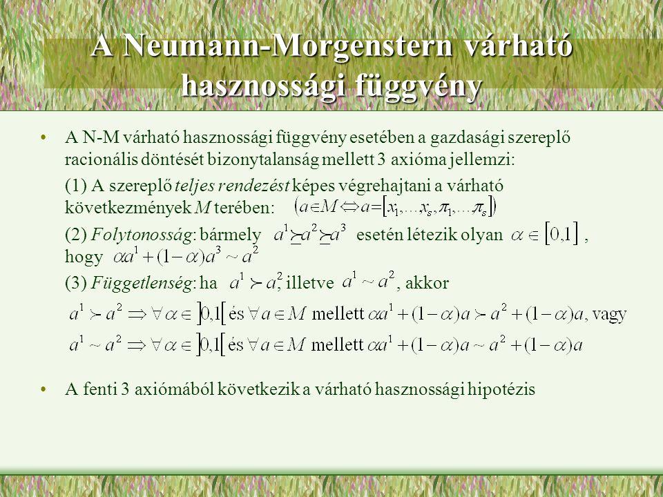 A Neumann-Morgenstern várható hasznossági függvény A N-M várható hasznossági függvény esetében a gazdasági szereplő racionális döntését bizonytalanság