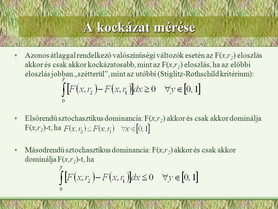 A kockázat mérése Azonos átlaggal rendelkező valószínűségi változók esetén az F(x,r 2 ) eloszlás akkor és csak akkor kockázatosabb, mint az F(x,r 1 )