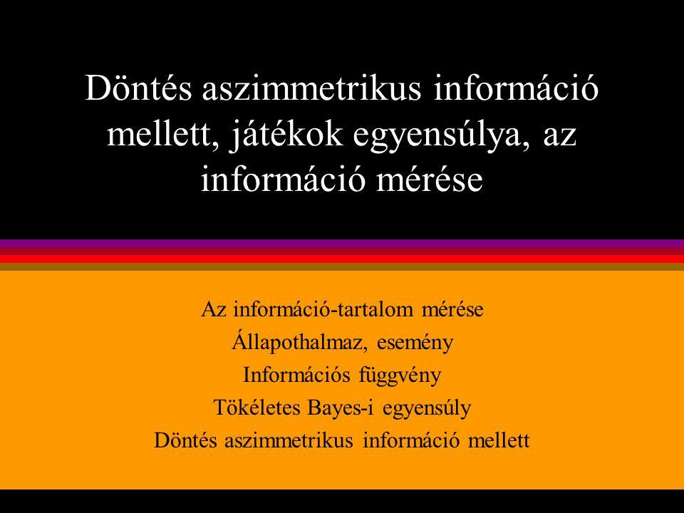 Döntés aszimmetrikus információ mellett, játékok egyensúlya, az információ mérése Az információ-tartalom mérése Állapothalmaz, esemény Információs füg