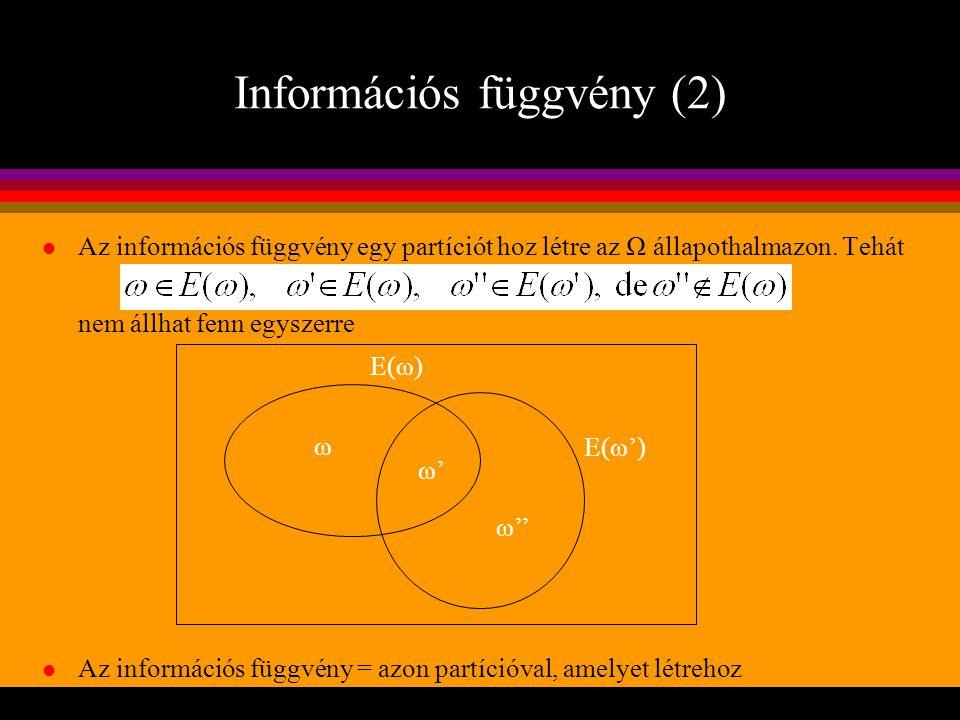 Információs függvény (2) l Az információs függvény egy partíciót hoz létre az Ω állapothalmazon. Tehát nem állhat fenn egyszerre l Az információs függ
