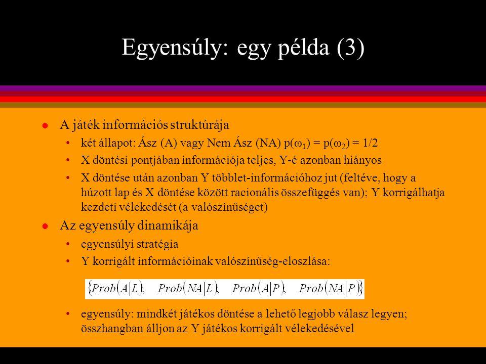 Egyensúly: egy példa (3) l A játék információs struktúrája két állapot: Ász (A) vagy Nem Ász (NA) p(ω 1 ) = p(ω 2 ) = 1/2 X döntési pontjában informác