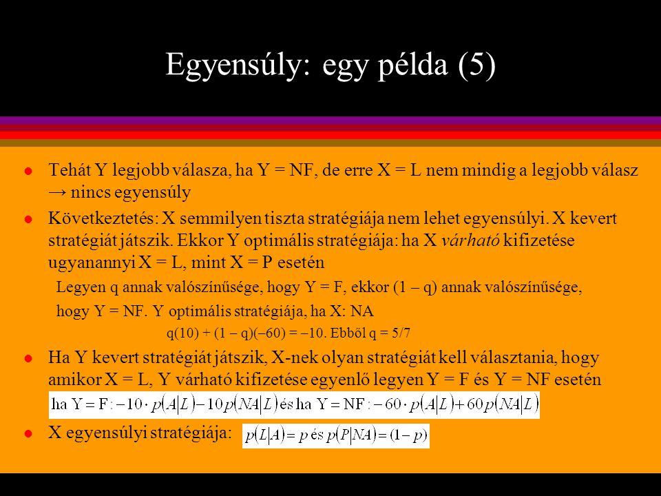 Egyensúly: egy példa (5) l Tehát Y legjobb válasza, ha Y = NF, de erre X = L nem mindig a legjobb válasz → nincs egyensúly l Következtetés: X semmilye
