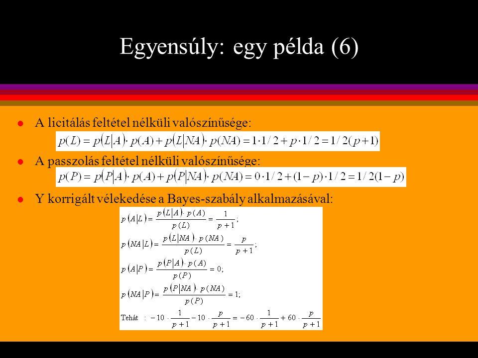 Egyensúly: egy példa (6) l A licitálás feltétel nélküli valószínűsége: l A passzolás feltétel nélküli valószínűsége: l Y korrigált vélekedése a Bayes-