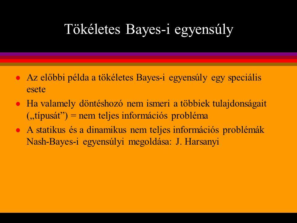 Tökéletes Bayes-i egyensúly l Az előbbi példa a tökéletes Bayes-i egyensúly egy speciális esete l Ha valamely döntéshozó nem ismeri a többiek tulajdon