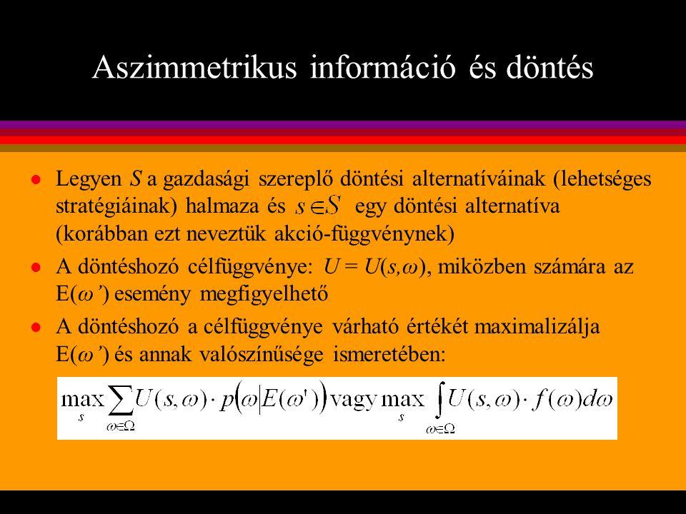 Aszimmetrikus információ és döntés l Legyen S a gazdasági szereplő döntési alternatíváinak (lehetséges stratégiáinak) halmaza és egy döntési alternatí