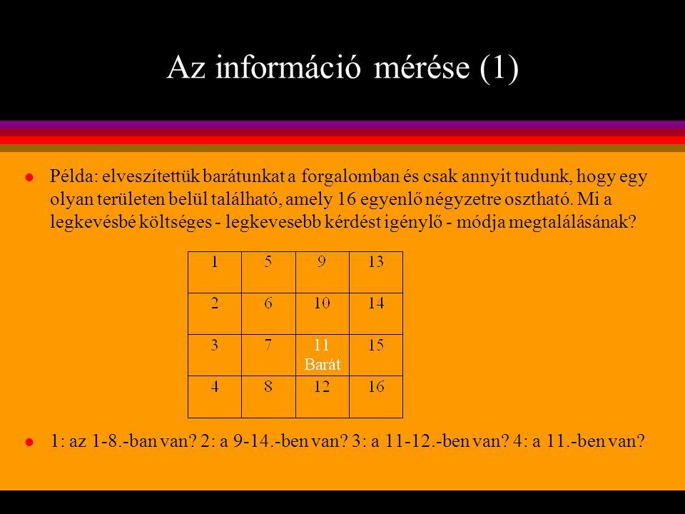 Az információ mérése (1) l Példa: elveszítettük barátunkat a forgalomban és csak annyit tudunk, hogy egy olyan területen belül található, amely 16 egy
