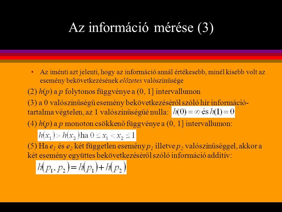 Az információ mérése (3) Az iménti azt jelenti, hogy az információ annál értékesebb, minél kisebb volt az esemény bekövetkezésének előzetes valószínűs