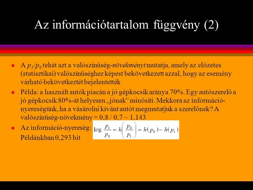 Az információtartalom függvény (2) l A p 1 /p 0 tehát azt a valószínűség-növekményt mutatja, amely az előzetes (statisztikai) valószínűséghez képest b