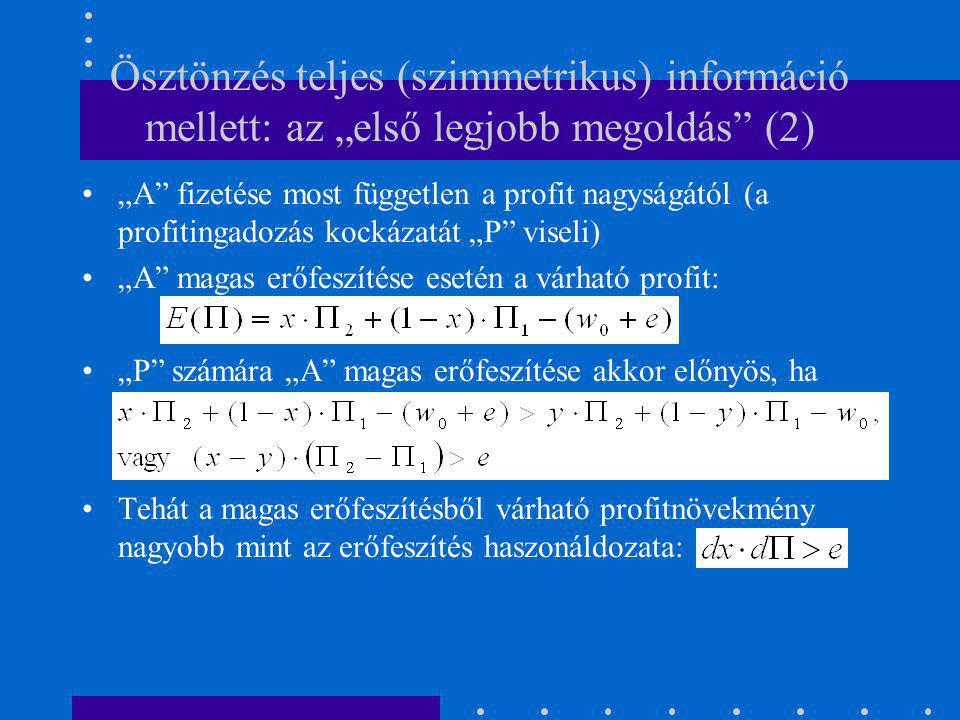 """Ösztönzés információs aszimmetria mellett (1) """"P nem tudja megfigyelni """"A tényleges erőfeszítését, milyen szerződést ajánljon."""