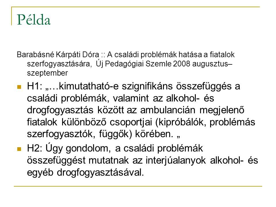 """Példa Barabásné Kárpáti Dóra :: A családi problémák hatása a fiatalok szerfogyasztására, Új Pedagógiai Szemle 2008 augusztus– szeptember H1: """"…kimutatható-e szignifikáns összefüggés a családi problémák, valamint az alkohol- és drogfogyasztás között az ambulancián megjelenő fiatalok különböző csoportjai (kipróbálók, problémás szerfogyasztók, függők) körében."""
