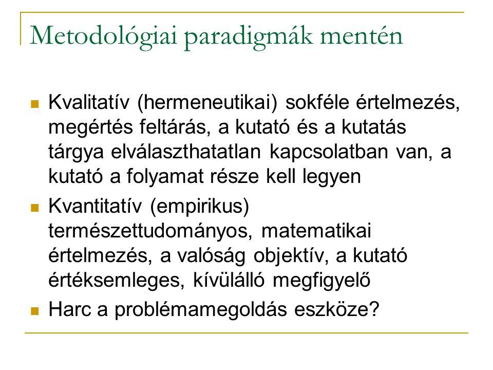 Metodológiai paradigmák mentén Kvalitatív (hermeneutikai) sokféle értelmezés, megértés feltárás, a kutató és a kutatás tárgya elválaszthatatlan kapcso