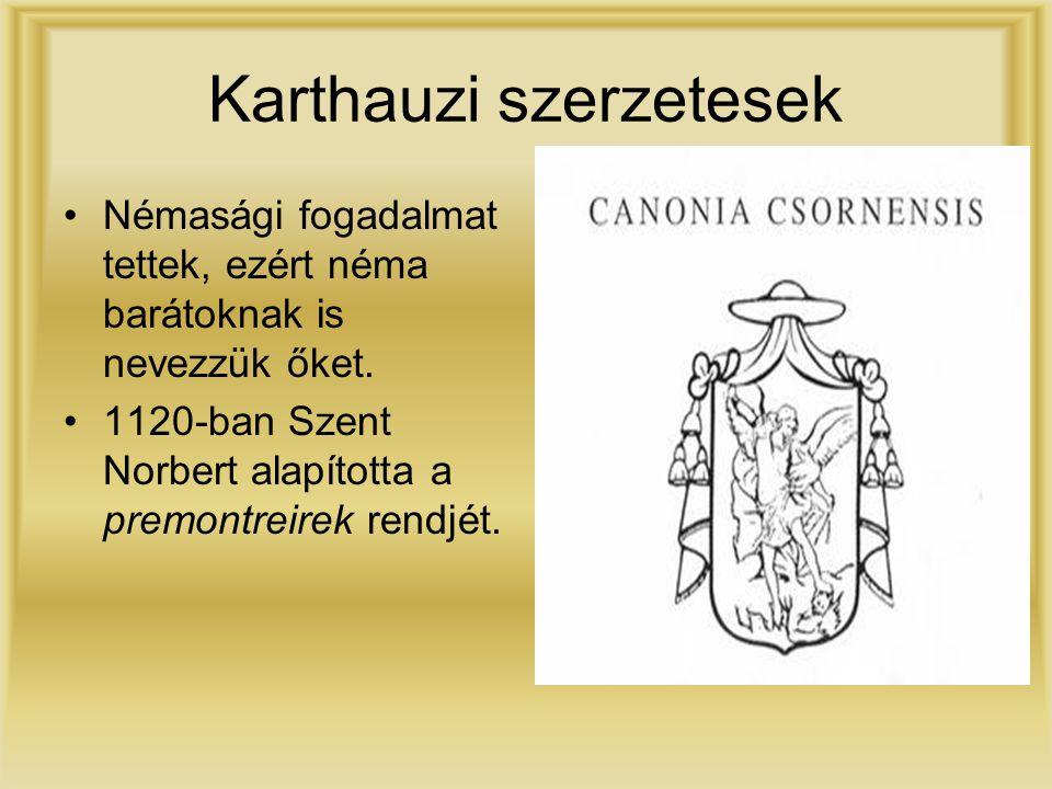 Karthauzi szerzetesek Némasági fogadalmat tettek, ezért néma barátoknak is nevezzük őket. 1120-ban Szent Norbert alapította a premontreirek rendjét.