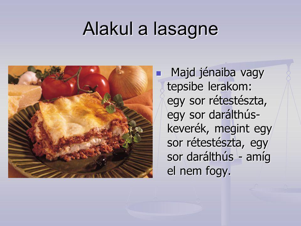 Alakul a lasagne Majd jénaiba vagy tepsibe lerakom: egy sor rétestészta, egy sor darálthús- keverék, megint egy sor rétestészta, egy sor darálthús - a