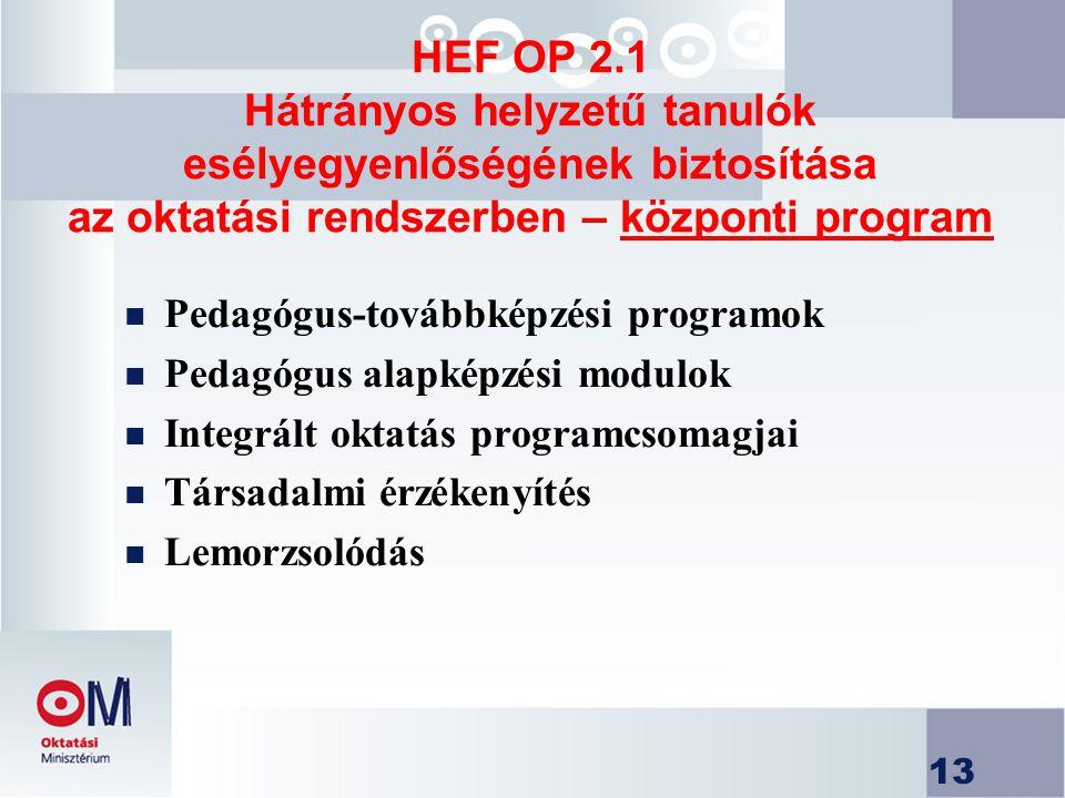 13 HEF OP 2.1 Hátrányos helyzetű tanulók esélyegyenlőségének biztosítása az oktatási rendszerben – központi program n Pedagógus-továbbképzési programok n Pedagógus alapképzési modulok n Integrált oktatás programcsomagjai n Társadalmi érzékenyítés n Lemorzsolódás