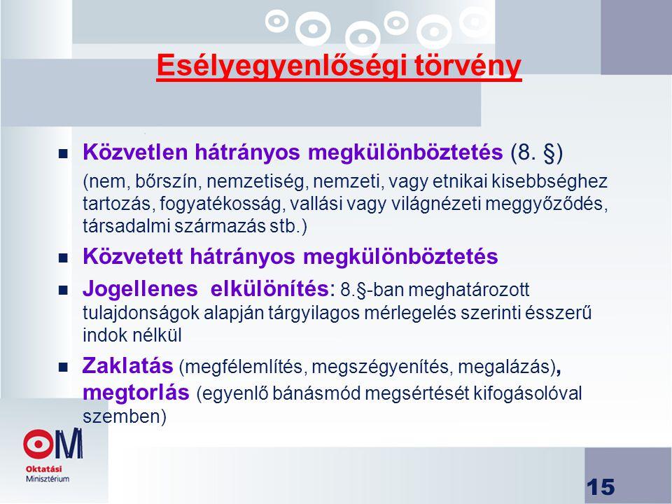 15 Esélyegyenlőségi törvény n Közvetlen hátrányos megkülönböztetés (8.