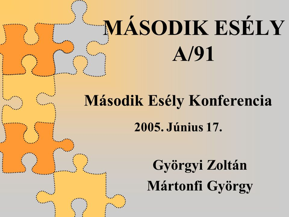 MÁSODIK ESÉLY A/91 Györgyi Zoltán Mártonfi György Második Esély Konferencia 2005. Június 17.