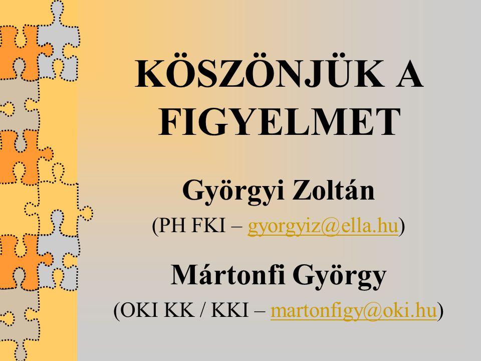 KÖSZÖNJÜK A FIGYELMET Györgyi Zoltán (PH FKI – gyorgyiz@ella.hu)gyorgyiz@ella.hu Mártonfi György (OKI KK / KKI – martonfigy@oki.hu)martonfigy@oki.hu