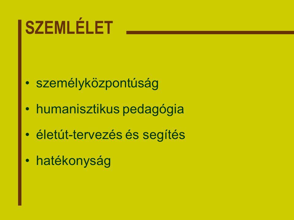SZEMLÉLET személyközpontúság humanisztikus pedagógia életút-tervezés és segítés hatékonyság
