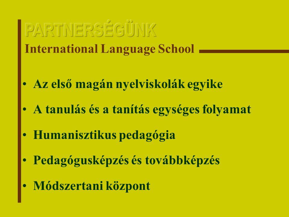 Az első magán nyelviskolák egyike A tanulás és a tanítás egységes folyamat Humanisztikus pedagógia Pedagógusképzés és továbbképzés Módszertani központ