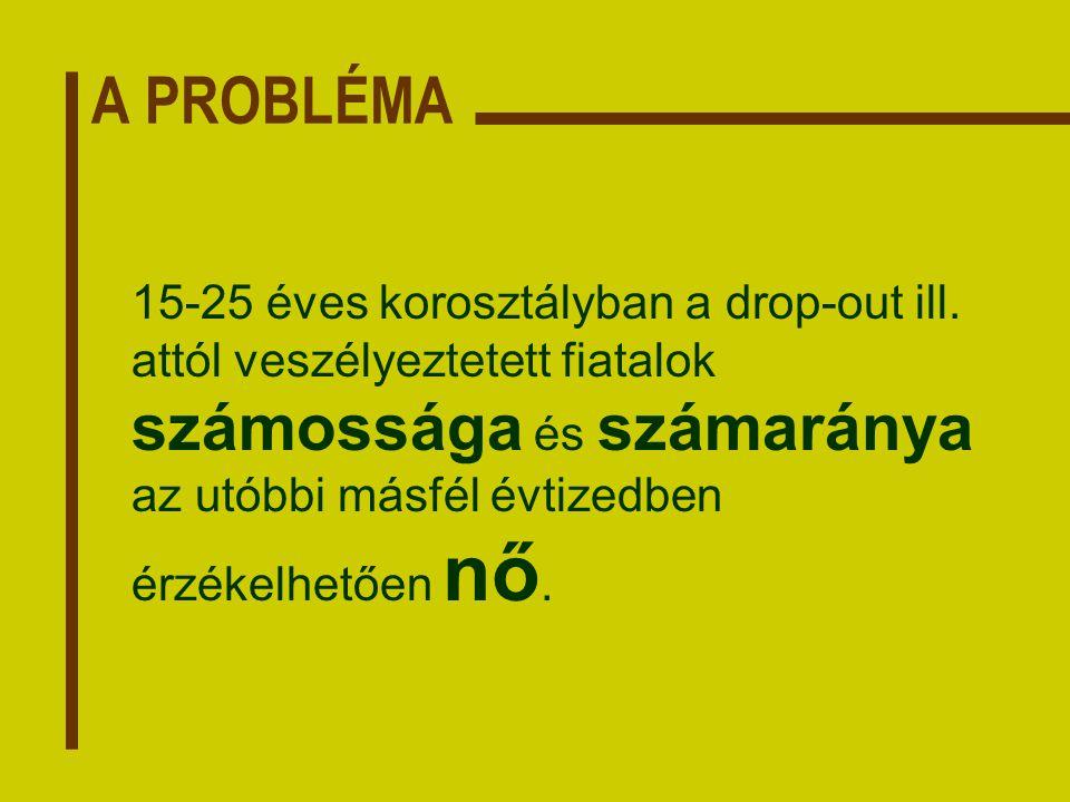 A PROBLÉMA 15-25 éves korosztályban a drop-out ill.