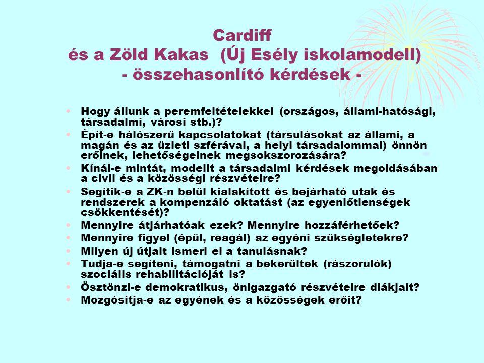Cardiff és a Zöld Kakas (Új Esély iskolamodell) - összehasonlító kérdések - Hogy állunk a peremfeltételekkel (országos, állami-hatósági, társadalmi, v
