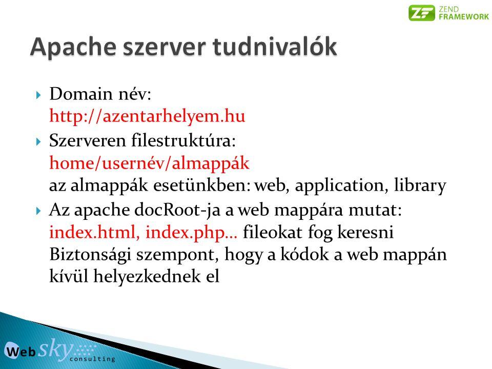  Domain név: http://azentarhelyem.hu  Szerveren filestruktúra: home/usernév/almappák az almappák esetünkben: web, application, library  Az apache docRoot-ja a web mappára mutat: index.html, index.php… fileokat fog keresni Biztonsági szempont, hogy a kódok a web mappán kívül helyezkednek el